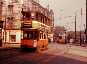 Old photograph of buses on Cathcart Road