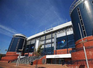 The entrance steps to Hampden Football Stadium